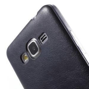 Ultratenký gelový kryt s imitací kůže na Samsung Grand Prime - tmavě modrý - 3