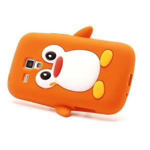 Silikonový obal tučňák na Samsung Galaxy S Duos - oranžový - 3