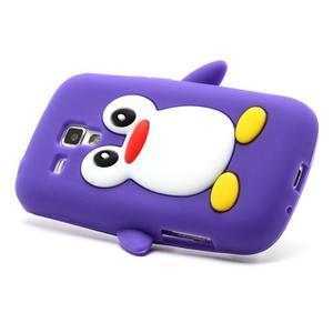Silikonový obal tučňák na Samsung Galaxy S Duos - fialový - 3