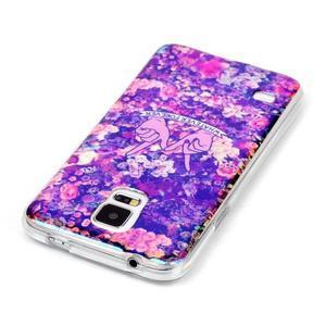 Blu-ray gelový obal s odlesky na Samsung Galaxy S5 - květiny - 3