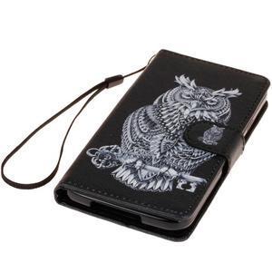 Knížkové PU kožené pouzdro na Samsung Galaxy S5 - sova - 3