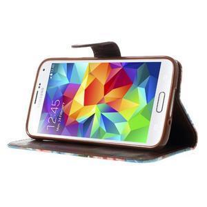 Květinové pouzdro na mobil Samsung Galaxy S5 - modré pozadí - 3