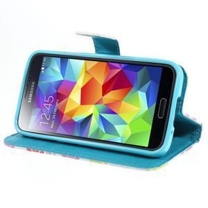 Emotive PU kožené pouzdro na Samsung Galaxy S5 mini - barevné květiny - 3