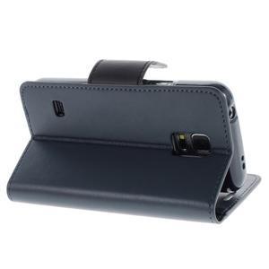 Sonata PU kožené pouzdro na Samsung Galaxy S5 mini - tmavěmodré - 3