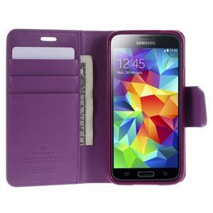 Sonata PU kožené pouzdro na Samsung Galaxy S5 mini - fialové - 3