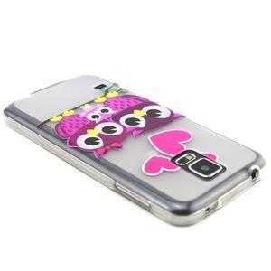 Transparentní gelový obal na mobil Samsung Galaxy S5 mini - soví rodinka - 3