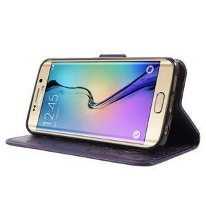 Butterfly PU kožené pouzdro na mobil Samsung Galaxy S6 Edge - fialové - 3