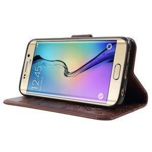 Butterfly PU kožené pouzdro na mobil Samsung Galaxy S6 Edge - hnědé - 3