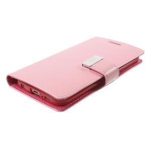 Richdiary PU kožené pouzdro na mobil Samsung Galaxy S6 Edge - růžové - 3