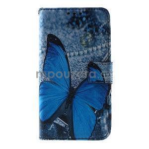 Peněženkové pouzdro na Sony Xperia E4g - modrý motýl - 3