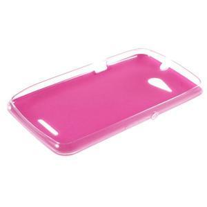 Gelový obal na Sony Xperia E4g s koženkovými zády - růžový - 3