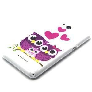 Vzorový gelový obal na Sony Xperia E4g - soví rodinky - 3