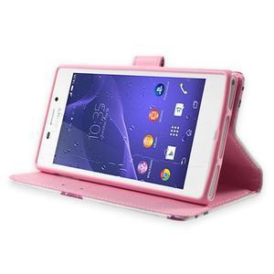 Standy peněženkové pouzdro Sony Xperia M2 Aqua - fialové květy - 3