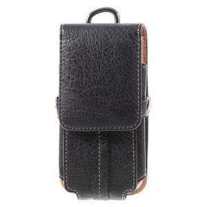 Cestovní PU kožené peněženkové pouzdro do rozměru 150 x 73 x 15 mm - černé - 3