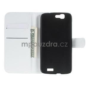 PU kožené peněženkové pouzdro na Huawei Ascend G7 - bílé - 3