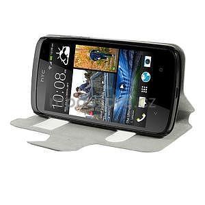 Flipové PU kožené pouzdro na HTC Desire 500 - tmavě fialové - 3