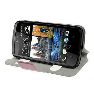 Flipové PU kožené pouzdro na HTC Desire 500 - růžové - 3