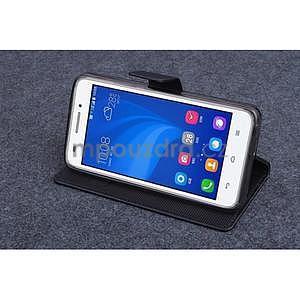 Černé PU kožené peněženkové pouzdro na Huawei Ascend G620s - 3