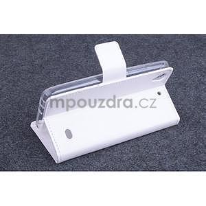 Bílé PU kožené peněženkové pouzdro na Huawei Ascend G620s - 3