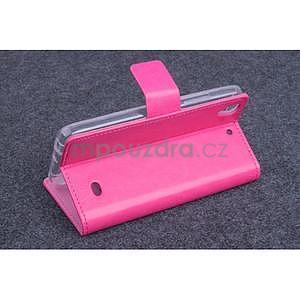 Růžové PU kožené peněženkové pouzdro na Huawei Ascend G620s - 3