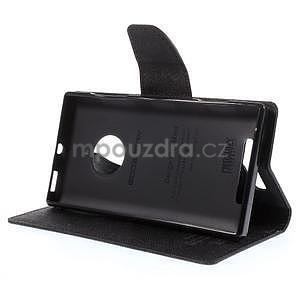 PU kožené peněženkové pouzdro na Nokia Lumia 830 - černé - 3