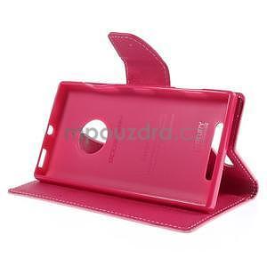 PU kožené peněženkové pouzdro na Nokia Lumia 830 - růžové - 3
