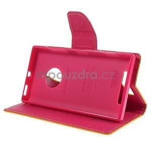 PU kožené peněženkové pouzdro na Nokia Lumia 830 - žluté - 3