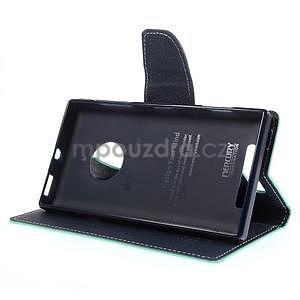 PU kožené peněženkové pouzdro na Nokia Lumia 830 - azurové - 3