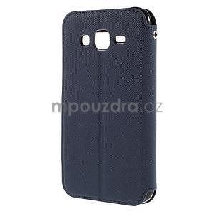 PU kožené pouzdro s okýnkem pro Samsung Galaxy J5 - tmavě modré - 3
