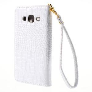 PU kožené pouzdro s imitací krokodýlí kůže Samsung Galaxy J5 - bílé - 3