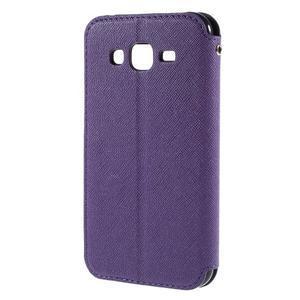 PU kožené pouzdro s okýnkem pro Samsung Galaxy J5 - fialové - 3