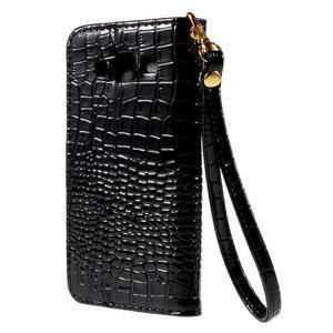 PU kožené pouzdro s imitací krokodýlí kůže Samsung Galaxy J5 - černé - 3