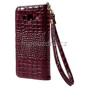 PU kožené pouzdro s imitací krokodýlí kůže Samsung Galaxy J5 - tmavě červené - 3