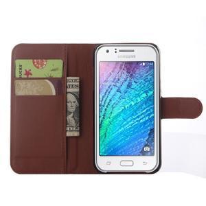 Hnědé zapínací peněženkové pouzdro na Samsung Galaxy J5 - 3