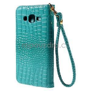 PU kožené pouzdro s imitací krokodýlí kůže Samsung Galaxy J5 - tyrkysové - 3