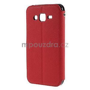 PU kožené pouzdro s okýnkem pro Samsung Galaxy J5 - červené - 3
