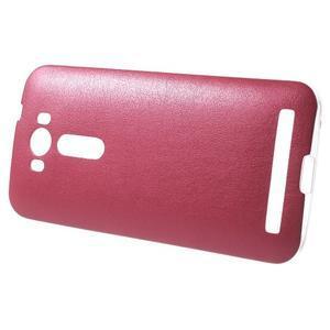Gelový obal s jemným koženkovým plátem na Asus Zenfone 2 Laser ZE500KL  - rose - 3