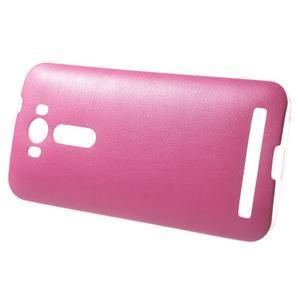 Gelový obal s jemným koženkovým plátem na Asus Zenfone 2 Laser ZE500KL  - růžový - 3