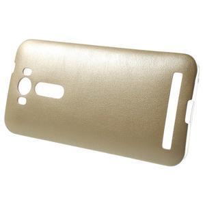 Gelový obal s jemným koženkovým plátem na Asus Zenfone 2 Laser ZE500KL  - champagne - 3