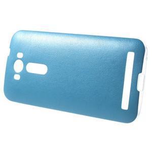 Gelový obal s jemným koženkovým plátem na Asus Zenfone 2 Laser ZE500KL  - modrý - 3