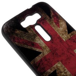 Gelový obal s koženkovými zády na Asus Zenfone 2 Laser - UK vlajka - 3