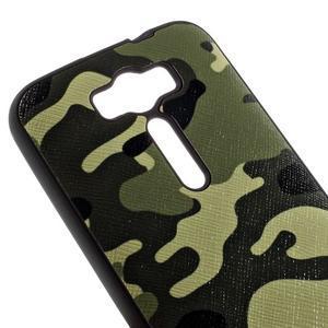 Gelový obal s koženkovými zády na Asus Zenfone 2 Laser - army - 3