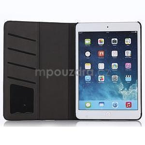 Koženkové pouzdro s imitací dřeva na iPad Mini 3, iPad Mini 2, iPad mini - tmavě šedé - 3