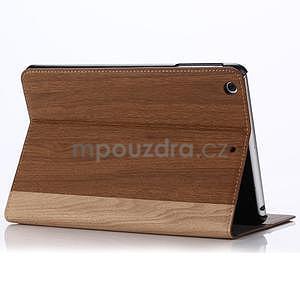 Koženkové pouzdro s imitací dřeva na iPad Mini 3, iPad Mini 2, iPad mini - hnědé - 3