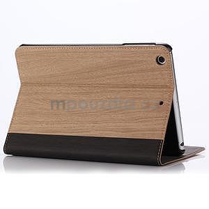 Koženkové pouzdro s imitací dřeva na iPad Mini 3, iPad Mini 2, iPad mini - světlehnědé - 3
