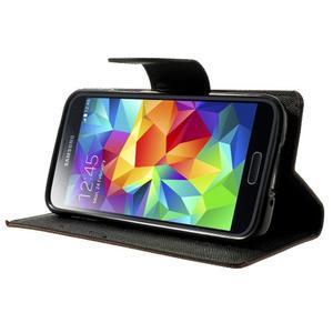 Diary PU kožené pouzdro na Samsung Galaxy S5 mini - hnědé - 3