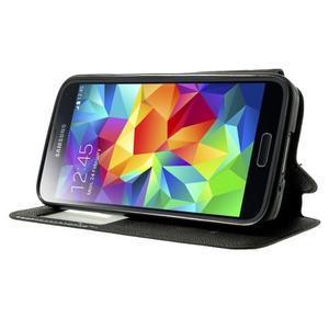 Pěněženkové pouzdro s okýnkem pro Samsung Galaxy S5 mini -  černé - 3