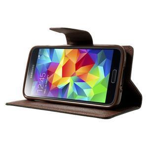 Diary PU kožené pouzdro na Samsung Galaxy S5 mini - černé/hnědé - 3