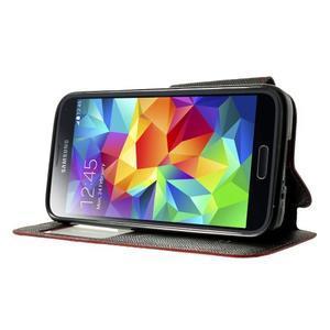 Pěněženkové pouzdro s okýnkem pro Samsung Galaxy S5 mini - červené - 3