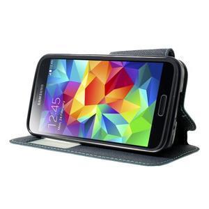 Pěněženkové pouzdro s okýnkem pro Samsung Galaxy S5 mini -  světlemodré - 3